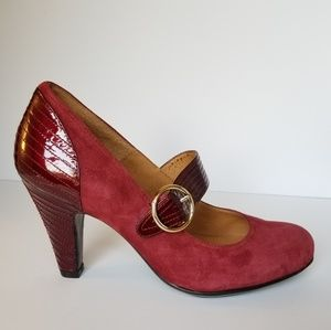 Sofft Maroon Suede and Patent Leather Heels